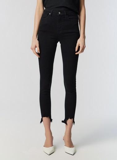 Monamoda Paçası Sökük Detaylı Yüksek Bel Skinny Jean Pantolon Siyah